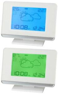 ウェザーステーション電波クロック暗闇でも時間をはっきり確認できるバックライト付き時間と月・日と気圧計・天気予報と温度計・湿度計をいっきに表示時間のズレも自動調整目覚まし時