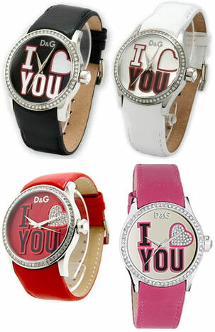DOLCE&GABBANAドルチェ&ガッバーナ 腕時計 ビーマインD&G TIME watch Be Mineブラック レッド DW0146BKW0147ホワイト ピンク DW0148 W0149ブラックレザーベルト ラインストーン ドルガバ ディー&ジー レディース