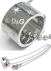 DOLCE&GABBANA ペンダントネックレスシルバーロゴリングトップアクセサリー ボールチェーンPENDANT NECKLACEドルガバ ドルチェ&ガッバーナJewelry DJ0509ドルガバ D&G ディー&ジーレディース