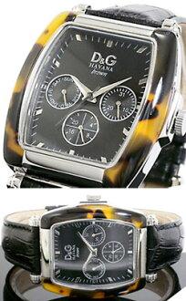 D & G 杜嘉班纳手表计时手表哈瓦那棕色哈瓦那棕色桶压花皮革带桶形状男子琥珀色