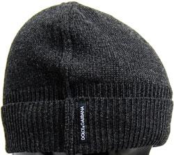 DOLCE&GABBANAドルガバ ニットキャップロゴタグチェコールグレー ブラック帽子 ニット帽ドルチェ&ガッバーナ D&Gメンズ レディース 男女兼用KNIT CAPヴァージンウール100%