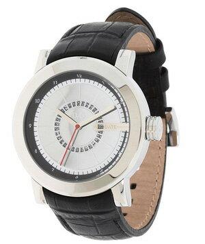 DOLCE&GABBANA 腕時計ドルチェ&ガッバーナラウンドフェイスウォッチシルバー文字盤 日付表示型押しブラックレザーベルトD&G WATCH DW0721BKSL Central Parkドルガバ アナログディー&ジー セントラルパーク 男性用