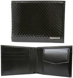 DOLCE&GABBANAドルチェ&ガッバーナエンボスパイソンレザー メンズ二つ折財布ブラック(金具:ガンメタル)鱗柄 スタンパ Scales ウロコさいふ サイフ ウォレットD&G ドルガバ ディーアンドジー
