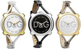 D&G 腕時計ドルガバ アナログウォッチ リスボンラインストーンロゴ レザーリストブラック ホワイト ブラウンDOLCE&GABBANA LISBONDW0841 DW0842 DW0843ディー&ジー レディースドルチェ&ガッバーナアクセサリー ブレスレット