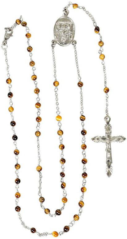 DOLCE&GABBANA D&Gドルチェ&ガッバーナ ドルガバシルバーロザリオネックレスクロスペンダントネックレスマルチカラーチェーン 十字架亀甲イエローブラウン WNC612 W0001 87578Silver-tone & Brown Brass Rosary Necklace