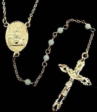 DOLCE&GABBANA D&Gドルチェ&ガッバーナ ドルガバシルバーロザリオネックレスクロスペンダントネックレスマルチカラーチェーン 十字架スカイブルー WNC2R4 W0001 87655 Silver-tone & Sky Blue Brass Rosary Necklace