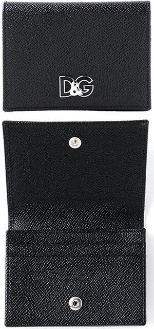 DOLCE&GABBANA D&Gドルチェ&ガッバーナ二つ折りカードケースドーフィンカーフレザーD&Gロゴプレート名刺入れ ブラックカード入れ 型押しレザー 名刺ケースドルガバ ディーアンドジーさいふ サイフ ウォレット 80999BK