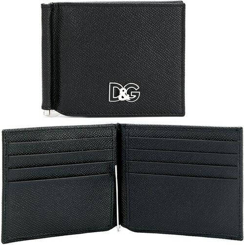 DOLCE&GABBANAドルチェ&ガッバーナ ドルガバメンズ マネークリップ付き二つ折り財布D&GロゴプレートブラックグレインカーフレザーCalf Leather 80999BK2つ折財布 型押しカーフスキン