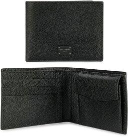 DOLCE&GABBANAドルチェ&ガッバーナメンズ 小銭入れ付き2つ折り財布ブラックロゴプレートドーフィンカーフレザー二つ折財布 ブラックD&G80999BKさいふ サイフ ウォレットドルガバ ディーアンドジー