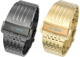 柴油手表柴油 DZ7111 DZ7112 数字手表不锈钢带 5 ATM 防水日历男装
