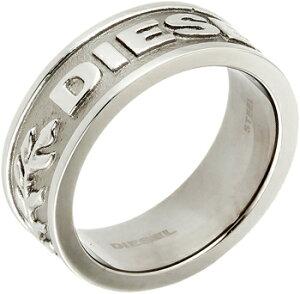 DIESEL ディーゼルメンズシルバーリングシルバー×ガンメタ 指輪 トツロゴロゴ約16号 約18号 約20号 約22号 約23号 約25号 約26号Men's polished gunmetal Silver Ring Stainless Steelengraved logo for edgy detailing
