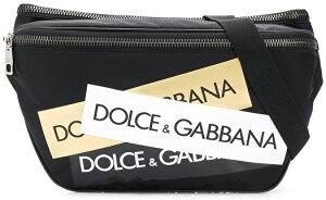 DOLCE&GABBANA D&Gドルチェ&ガッバーナ ドルガバ ウエストバッグ クロスボディフロントロゴパッチディー&ジー 斜め掛け ボディバッグシャンパンゴールド×ホワイト×ブラックリベット打ちロゴ