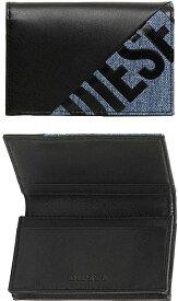 DIESEL ディーゼル二つ折りカードケースカラーブロックフラップ付き財布 さいふ サイフミックスマテリアルブラックカーフレザー×デニムブルー名刺入れ クレジットカードH1146BKBL CARD CASE WALLET