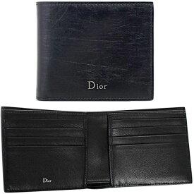 DIOR HOMME ディオールオムメンズ二つ折りカードケースメタルロゴ 2つ折り札入れパラジウムフィニッシュシルバー「Dior」「DIOR HOOME」 メタルロゴブラックリエージュカーフレザー名刺入れ NOIR 名刺ケース ヴィンテージレザー