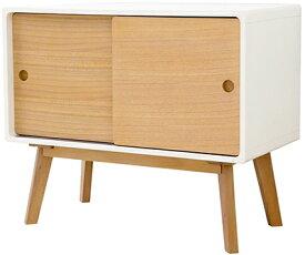 ウッドサイドテーブル木製小物入れナチュラルウッド×ホワイトデスクラック 収納ボックスリビング&デスク収納電話台 収納棚 キャビネット スライドチェスト
