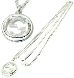 326f86e0ab GUCCI Gucci necklace sterling silver double G ring plate Guilloche  interlocking G pendant Kihei chain mens Womens unisex 246490 J8400 8106  NECKLACE ...