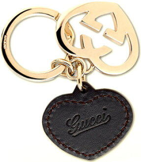 06ae53e239c GUCCI Gucci key rings  amp  key ring heart charm double plate ring light  gold interlocking heart plate 245822 I11NG2140 dark brown click logo engraved  heart ...