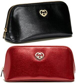 f9250657e8e139 GUCCI Gucci cosmetic pouch wristlet cozy porch interlocking GG heart logo  shiny leather black red 338190