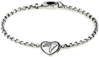 faa313eafcb30 GUCCI Gucci bracelet sterling silver heart shiny black finish logo  imprinted flora BRACELET ladies Bangle 341953 J8400 0701