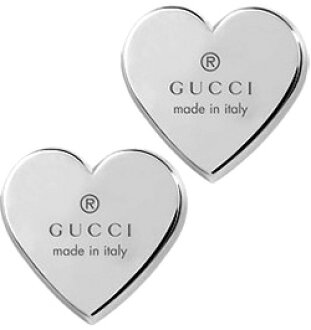 8c698b4a75c GUCCI Gucci earrings logo engraved heart plate ladies accessories 0701  PIERCE rhodium-plated sterling silver Stud earrings with Gucci Trademark  engraved ...