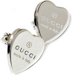 GUCCI グッチ ピアストレードマークロゴ刻印ミニハートプレートレディース アクセサリー 0701 PIERCEスターリングシルバーStud earrings with Gucci Trademark engraved heart in sterling silver