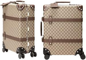 GUCCI グッチ 旅行用鞄キャスター付きキャリーバッグ 伸縮式トップハンドル GGスプリームコーティングキャンバスベージュ×ダークブラウン スーツケースIDタグ&360度ホイールブラウンレザー