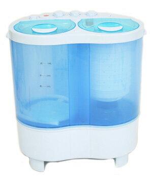 超小型コンパクトミニ洗濯機2槽式なので洗濯&すすぎをしながらの脱水が可能ペット用品や下着、赤ちゃんやお年寄りの衣類の分け洗いなどに便利タイマー付きで自動給水、排水 操作も簡単、スイッチを回すだけアウトドア時にも大活躍!