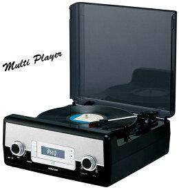 ブラックオールインワンミュージックプレイヤーレコードプレイヤー&CDプレイヤーワイドFMラジオ USB搭載MP3に変換してUSBメモリに録音保存が可能外部入力端子も装備MP3&WMAファイル再生可能AUX入出力端子搭載スピーカー内蔵で直ぐ聴けます