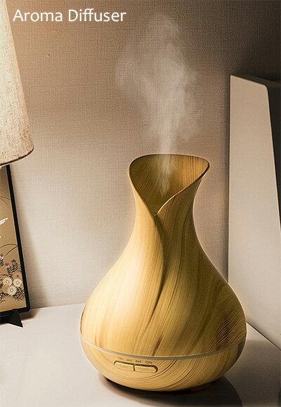 ラインLEDアロマモイスチャーポッド香りと潤いがゆらぎを演出する木目調超音波式超音波加湿器 アロマディフューザー ナチュラルブラウンいい香りと潤いを7カラーを生み出すグラデーションLEDライト空気浄化器 花粉症対策に