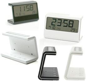 LEXON DUAL POWER clockレクソン ソーラーデュアルパワラークロック目覚まし時計 アラーム機能 デジタルクロックホワイト ブラック置き時計ELA ClockLCDデスククロック 日付け&曜日表示、温度表示 スヌーズ&アラーム機能