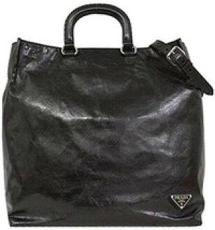 3c73a1f4decb68 PRADA Prada VITELLO SHINE 2WAY tote bag triangular logo plate calfskin  vintage leather black metal: