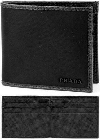 PRADA プラダブラックメタルロゴ二つ折り財布 札入れテスートナイロン×レザーカードケース TESSUTO F00022つ折り財布 ンズレディース 小銭入れ無しサイフ さいふ ウォレット パース