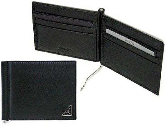PRADA プラダ メンズマネークリップ二つ折り財布 札入れ 三角ロゴプレート カードケースソフトカーフレザー ブラック2つ折り財布 ヴィッテロ小銭入れなし ウォレットVITELLO CALF LEATHER F0002BK
