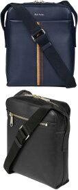 Paul Smith ポールスミス斜めがけショルダーバッグセンターエンブロイダードストライプライン上質スムースレザー ブラック ダークネイビーブライトストライプミニメッセンジャーバッグ牛革 かばん カバン 鞄BAG MINI SHOULDER BAG