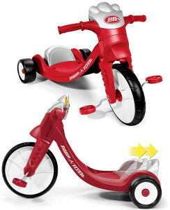 RADIO FLYER ラジオフライヤーはじめての三輪車にウィンカーが点灯したり音が鳴るレッド×シルバー×ホワイト背もたれ付きでペダルがこぎ易いスライドシート調整可能Ready to Ride Girls Trike Trikes
