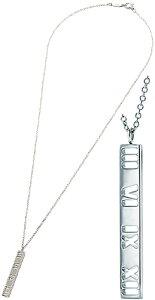 Tiffany&Co. ティファニーアトラスバーペンダントペンダントネックレスシルバーチェーン 925シルバー16IN 打ち抜きローマ数字スターリングシルバーPENDANT NECKLACEアクセサリー 925ATLAS BAR PENDANT