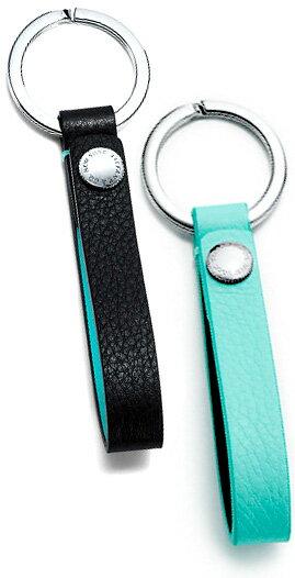 Tiffany&Co. ティファニーレザーストラップ付きキーリングライトブルー ブラックスナップループキーチェーンキーホルダー 型押し革グレイン カーフスキンレザー