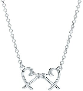Tiffany&Co. ティファニー2つのオープンハートがダイヤモンドで繋がったデザインラウンドブリリアントカットダイヤモンドダブルラヴィングハートペンダントシルバーチェーン ダブルラビン