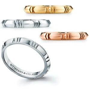 Tiffany&Co. ティファニー 指輪洗練されたラウンドアトラスクロックローマ数字クロスクローズドナローリング18K ホワイトゴールドシルバーゴールド ピンクゴールド アクセサリーナイフエッジ