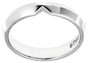 Tiffany&Co. ティファニー V型指輪ネスティングナローバンドリングプラチナシルバーNARROWRING#4-10 シンプルラインエンゲージメントリングと組み合わせてもぴったりのデザインペアリングとして