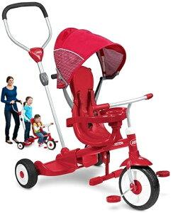 RADIO FLYER ラジオフライヤーシートべルト&転落防止ガード装備舵取りプッシュバー付き2人乗り三輪車少し大きくなった兄弟と一緒に乗れる3輪車折り畳み足置き&取外可能な前輪操作が可能