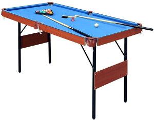 パーティー&イベントに大活躍 テーブルゲームビリーヤードテーブルセット折りたたみ可能 ブルー×ブラウン狭いスペースでも楽しめるビリヤード台キューや球も揃て直ぐ遊べる軽くて片付