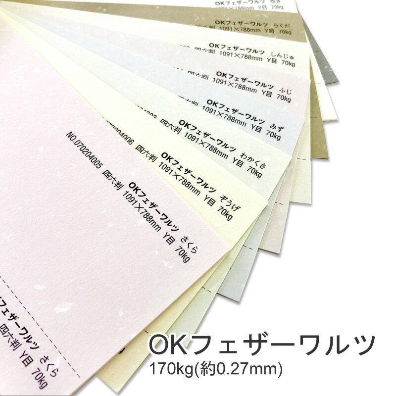 【特殊紙】OKフェザーワルツ 170kg(0.27mm)選べる9色【ファンシーペーパー 印刷用紙 表紙 ウェディング ブライダル ブレンド模様 和風 洋風 しおり 遊び紙】