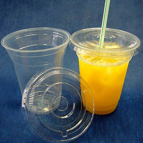 蓋付き透明プラスチックカップ12オンス 100セット(使い捨て容器)