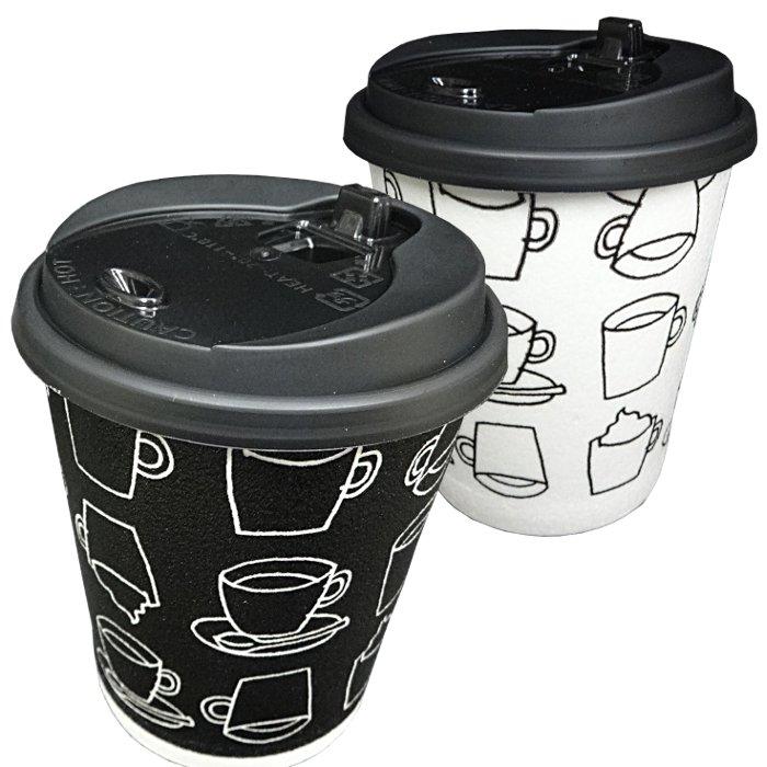 ふた付き発泡耐熱紙コップセット「カフェモダンN」8オンス250ml(白/黒2色アソート)50組