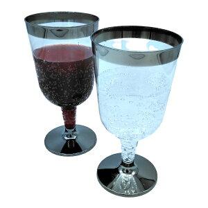 【箱】プラシルバー c-011 ワインカップ 6個クリアケース入×40セット(240個) 業務用 ケース販売 使い捨て ワイングラス 割れにくい プラスチック パフェカップ おうちカフェ