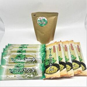 【セット商品】ケール入りパスタ5個・ケール入りうどん5個・ケール粉末100g1袋