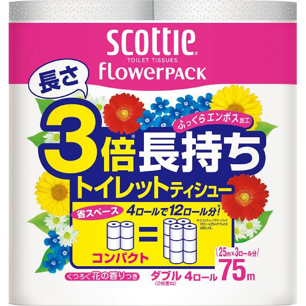 日本製紙クレシア スコッティ フラワーパック 3倍長持ち トイレット4ロール75mダブル×12パック