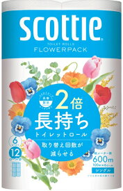 日本製紙クレシア スコッティ フラワーパック 2倍巻き6ロール 100m シングル 8パック入り まとめ買い 送料無料