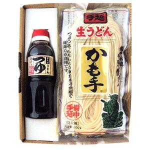 かも川 手延べ生うどん 麺つゆ付 うどん300g×3袋 麺つゆ300ml×1本 乾麺 RUS-2